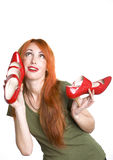 Mujer bonita con los zapatos Foto de archivo libre de regalías