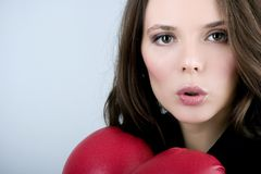 Mujer bonita del boxeo del bussiness imagen de archivo libre de regalías