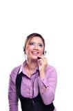 Mujer bonita del centro del contacto Foto de archivo libre de regalías