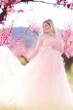 Mujer bonita embarazada en jardín de la primavera Foto de archivo