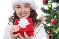 Mujer bonita en la Navidad Fotografía de archivo