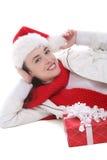Mujer bonita en la Navidad Imagen de archivo libre de regalías