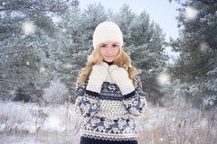 Mujer bonita en la ropa caliente que presenta en parque del invierno Fotografía de archivo libre de regalías