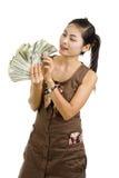 Mujer bonita feliz con las porciones de dinero Fotos de archivo