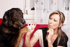Mujer bonita joven con el perro y el e-cigarrillo Imagenes de archivo