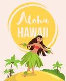 Mujer bonita joven del bailarín hawaiano del hula foto de archivo