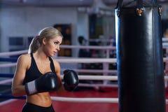 Mujer bonita joven del boxeador que se coloca en el anillo Imagenes de archivo