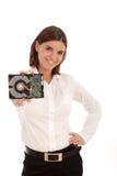 Mujer bonita joven que sostiene el disco duro Imágenes de archivo libres de regalías