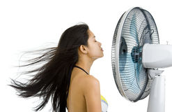Mujer bonita que disfruta de soplar del ventilador fotografía de archivo