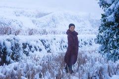 Mujer bonita que se coloca en nieve Foto de archivo