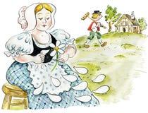 Mujer bonita vestida Folksy que dice fortunas misma ilustración del vector