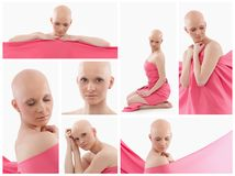 Mujer calva en rosa - cáncer de pecho Awereness foto de archivo libre de regalías