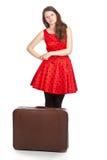 Mujer cansada con equipaje Imágenes de archivo libres de regalías