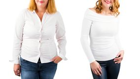 Mujer casual antes y después de la pérdida de peso, aislada en blanco Imagen de archivo libre de regalías