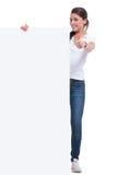 Mujer casual con el panel y la muestra aceptable Imagenes de archivo
