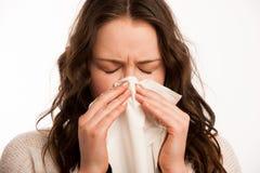 Mujer caucásica asiática con gripe y feaver Foto de archivo