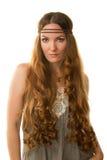 Mujer caucásica atractiva con el pelo largo Foto de archivo