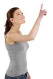 Mujer caucásica feliz hermosa joven que destaca Imagen de archivo libre de regalías