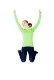 Mujer caucásica feliz joven que salta en el aire Fotografía de archivo libre de regalías