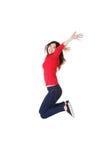 Mujer caucásica feliz que salta en el aire Fotos de archivo