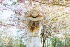 Mujer cauc?sica hermosa preciosa en el vestido que se coloca de presentaci?n en el fondo de la cereza floreciente de Jap?n imagenes de archivo