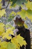 Mujer cerca del árbol en el parque del otoño Imagen de archivo