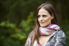 Mujer cerca del bosque Imágenes de archivo libres de regalías