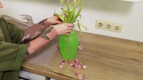 Mujer cerca del cuenco verde con las flores marchitadas en cocina