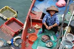 Mujer china del pescador en el barco foto de archivo