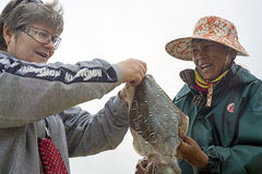 Mujer china que vende al turista recién pescado del ruso del calamar Fotos de archivo
