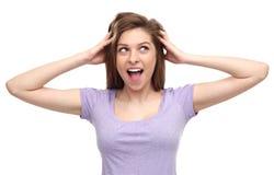 Mujer chocada Imagen de archivo