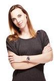 Mujer cómoda con los brazos plegables Imagen de archivo libre de regalías