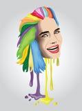 Mujer coloreada multi del pelo Imagenes de archivo