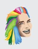 Mujer coloreada multi del pelo Fotografía de archivo