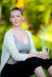 Mujer con agua Imagen de archivo libre de regalías