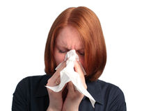 Mujer con alergia Fotografía de archivo