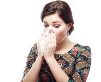 Mujer con alergia Imagen de archivo libre de regalías