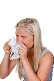 Mujer con alergia y fiebre de heno Imágenes de archivo libres de regalías