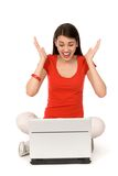 Mujer con animar de la computadora portátil Fotografía de archivo