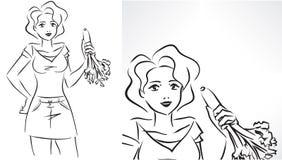 Mujer con apio stock de ilustración