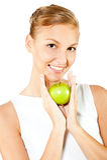Mujer con Apple verde Imagenes de archivo