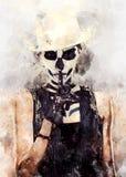 Mujer con arte esquelético de la cara ilustración del vector