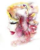 Mujer con Buterfly y la flor Fotografía de archivo libre de regalías