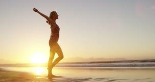 Mujer con caminar extendido de los brazos en la playa almacen de video