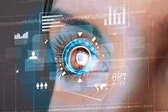 Mujer con concepto cibernético del panel del ojo de la tecnología Imagen de archivo libre de regalías
