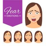 Mujer con diversas emociones stock de ilustración