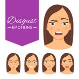 Mujer con diversas emociones ilustración del vector