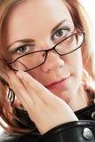 Mujer con dolor de cabeza Imagen de archivo libre de regalías