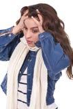 Mujer con dolor de cabeza Fotografía de archivo