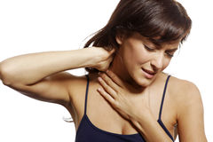 Mujer con dolor de cuello Imagenes de archivo